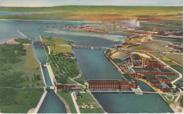 AK Sault Ste. Marie Aerial View Of Canadian Locks Algoma Steel Plant Great Lakes Power Abitibi Pulb Paper Mill Ontario - Ontario