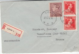 BELGIUM REGISTERED COVER 28/06/1952 COB 531 & 846 LIEGE VERS WASSELONNE FRANCE - 1936-1951 Poortman