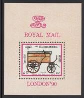 Cambodia MNH Scott #1026 Souvenir Sheet 45r Single Horse Van For Rural Work - Mail Coaches - London '90 - Cambodge