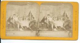 PHOTO STEREOSCOPIQUE Du XIXe Siècle..Scènes Animées.. REPAS - Fotos Estereoscópicas