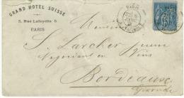 Timbre 15 C Type Sage   Oblit  1881 Expediteur Grand Hotel Suisse à Paris - 1853-1860 Napoléon III