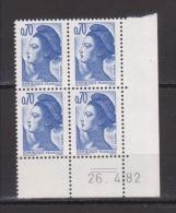 FRANCE / 1982 / Y&T N° 2240 ** : Liberté 0.70 F Bleu-violet (avec PHO) X 4 - Coin Daté 1982 04 26 (=) - 1980-1989