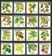 "Barbados       "" Fruits""      Set     SC# 1171-86    MNH** - Barbados (1966-...)"