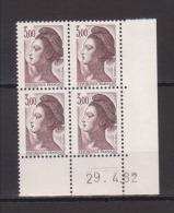 FRANCE / 1982 / Y&T N° 2243 ** : Liberté 3 F Brun X 4 - Coin Daté 1982 04 29 (=) - 1980-1989