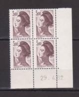 FRANCE / 1982 / Y&T N° 2243 ** : Liberté 3 F Brun X 4 - Coin Daté 1982 04 29 ( ) - 1980-1989