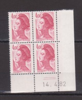 FRANCE / 1982 / Y&T N° 2244 ** : Liberté 4 F Carmin X 4 - Coin Daté 1982 04 14 (=) - 1980-1989