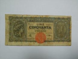 "BILLET ITALIE - P.74 - 50 LIRE - 1944 - FIGURE ALLEGORIQUE ""ITALIA"" - 50 Lire"