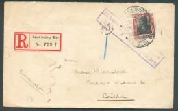 40 Pfg Obl.  Dc SANCT LUDWIG (ELS).  Sur Lettre Recommandée Du 22-10-1918 + Griffe Violette St. LUDWIG Elsace/P.U. Befor - Allemagne