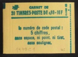 FRANCE CARNET De 20 Timbres 1970 Neufs** N° 1970-C1 -T B E - Carnets