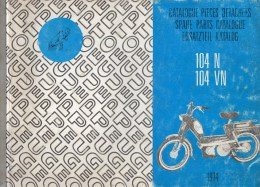 25 - BEAULIEU VALENTIGNEY - MONTBELIARD- BEAU CATALOGUE PIECES DETACHEES-CYCLES PEUGEOT 104N-104VN- 1974 - Motos