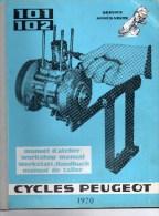 25 - BEAULIEU VALENTIGNEY- MONTBELIARD- BEAU CATALOGUE MANUEL ATELIER MOTO PEUGEOT- SCOOTER- 101-102-1970 - Motos