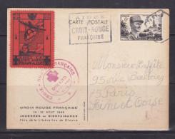 FRANCE CARTE POSTALE CROIX ROUGE AVEC VIGNETTE AIDEZ LA CROIX ROUGE FRANCAISE OBL DINARD 13.8.1948 AYANT VOYAGE - Frankrijk