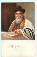 Judaïsme - Judaïca - Juif Polonais étudiant La TORAH - Illustrateur F. OBERMULLER - Gebetpause - 2 Scans - Judaisme
