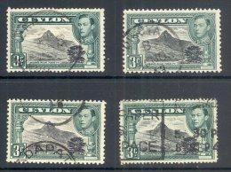 CEYLON, 1938 3c (P11½x11, P12, P13½, P14) VFU - Ceylon (...-1947)