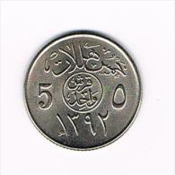 - -SAUDI  ARABIA  5  HALALA  1392 ( 1972 ) - Arabie Saoudite
