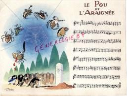 75 - PARIS- CHANSON LE POU ET L' ARAIGNEE - PUBLICITE MICTASOL 28 RUE DU FOUR- ILLUSTRATEUR ROGER CARTIER - Partitions Musicales Anciennes