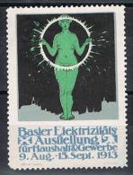 Vignette: Basler Elektrizitats Ausftellung 1913 (Exposition Bâloise Sur L'electricité-Bâle 1913) - Femme-arc électrique - Physics