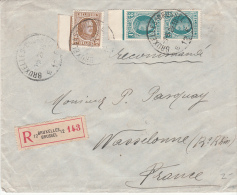 BELGIUM REGISTERED COVER 01/05/1929 COB 203 & 208 BRUXELLES VERS WASSELONNE FRANCE - 1922-1927 Houyoux