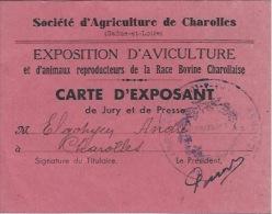Carte Exposant EXPOSITION D'AVICULTURE  71 CHAROLLES - Tickets D'entrée