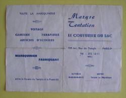PLAN DU METRO PARIS - PUBLICITE LE COUTURIER DU SAC MAROQUINIER - 2 SCANS - Europe