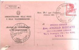 79627)CARTOLINA AVVISO POSTALE  27-11-67 - 6. 1946-.. Repubblica
