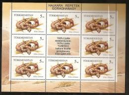 Turkménistan 1994 N° Feuillet Du N° 52 X 9 ** Parc National, Animaux, Repetek, Serpent, Echus Carinatus, Reptile - Turkménistan