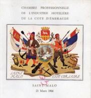 35 - SAINT MALO- BEAU MENU CHAMBRE PROFESSIONNELLE INDUSTRIE HOTELIERE- 1966-HOTEL L' UNIVERS- MARCEL BOURSEAU - Menus