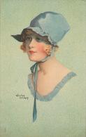 """FEMMES - FRAU - LADY -  Jolie Carte Fantaisie Portrait Jeune Femme """"TRES CHIC """"signée WINIFRED WIMBUSH - Femmes"""