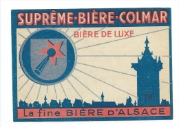 Ancienne étiquette Bière Supreme Biere Colmar Bière De Luxe La Fine Bière D'Alsace  Tour Donjon - Bière