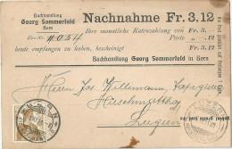 """NN Karte  """"Buchhandlung Sommerfeld, Bern""""  (Schnapsdatum !!!)          1911 - Switzerland"""