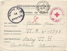 STALAG 6 H . PRISONNIERS +CROIX ROUGE DU HAVRE - Marcophilie (Lettres)