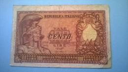 100 LIRE ITALIA ELMATA 24/12/51 BOLAFFI CAVALLARO GIOVINCO - MB - [ 2] 1946-… : Républic