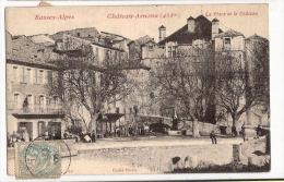CPA Château-Arnoux La Place Et Le Château  Saint-Auban 04 Alpes De Haute Provence Taxée Carte - France