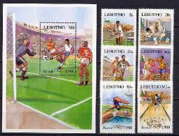 Lesotho 1987 Olympic Games Seoul, Football Soccer, Tennis, Judo Etc. Set Of 6 + S/s II.issue With Correct Flag MNH - Summer 1988: Seoul