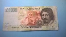 REPUBBLICA ITALIANA - Lire Centomila (100000) Caravaggio - 2° Tipo - Cons. BB - [ 2] 1946-… : Républic