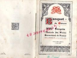 33 - BORDEAUX - MENU BANQUET DE CLOTURE DU XIXE CONGRES AMICALE DES PROTES ET CORRECTEURS DE FRANCE-1924- M. DUVAL - Menus