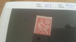 LOT 215750 TIMBRE DE FRANCE NEUF** N�124 VALEUR 225 EUROS