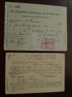 St. ELISABETH Gasthuis Hôpital Van Antwerpen1923 Wissel + Overlijden DENISSEN Maria ( Details See Photo ) !! - Wechsel