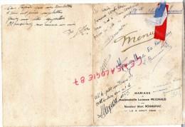 87 - LIMOGES -  MENU MARIAGE DE MLLE LUCIENNE PRUGNAUD AVEC MARC ROUMILHAC - 8 AOUT 1946 - Menus