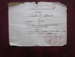 Militaria Guerre 39/45 Sep 1940 Centre De Réfugiés Ordre à Famille Ménard à Lyon Quitte Définitivement Le Palais Foire - Historical Documents