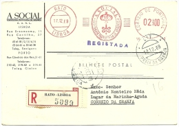 2 Escudos 1969 - A Social - Companhia Portuguesa De Seguros - Lisboa - Praia Da Granja - Registada - Marcophilie - EMA (Empreintes Machines)
