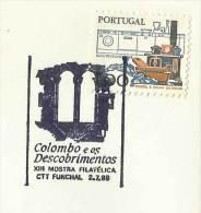 Portugal Cachet Commémoratif Expo Philatelique Colomb Colombo Funchal Madère 1988 Event Pmk Columbus Madeira - Sellados Mecánicos ( Publicitario)