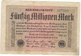 Germany #109b, 100 Million Mark 1923 Banknote Currency - [ 3] 1918-1933: Weimarrepubliek