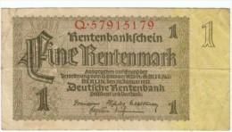 Germany #173b, 1 Mark  Rentenmark 1937 Banknote Currency - [ 3] 1918-1933: Weimarrepubliek