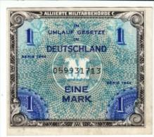 Germany #192a, 1 Mark 1944 Allied Occupation Banknote Currency - [ 5] 1945-1949 : Bezetting Door De Geallieerden