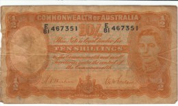 Australia #25a, 10 Shillings 1939 Banknote Currency - Pre-decimal Government Issues 1913-1965