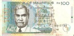 BILLETE DE MAURITIUS DE 100 RUPIAS DEL AÑO 1998  (BANKNOTE) - Mauricio