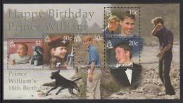 Cayman Islands MNH Scott #801 Souvenir Sheet Of 4 Prince William's 18th Birthday - Iles Caïmans