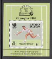 Cayman Islands MNH Scott #601 Souvenir Sheet $1 Tennis - 75th Anniversary International Tennis Federation - Iles Caïmans