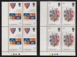 Cayman Islands MNH Scott #352-#353 Lower Left Corner Blocks Sir Winston Churchill - Iles Caïmans
